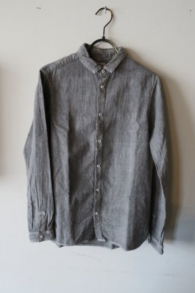 画像1: MITTAN  カディシャツ(ベンガラ染)松煙 サイズ1 (1)