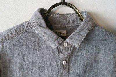 画像1: MITTAN  カディシャツ(ベンガラ染)松煙 サイズ1