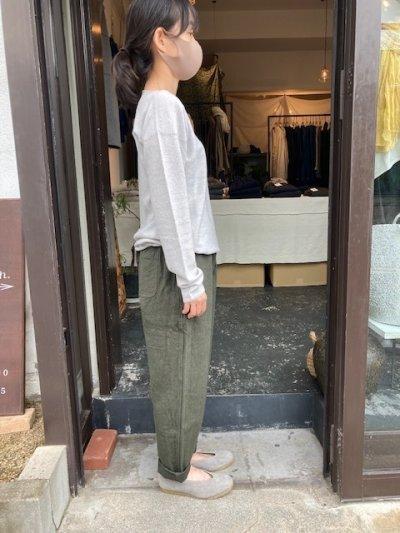 画像1: MITTAN  亜麻苧麻ロング 濃緑 サイズ1