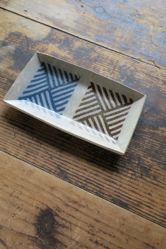 画像1: 牧谷窯 杉本義訓 練りこみ長方形皿