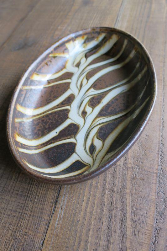 画像1: 小代焼ふもと窯 スリップウェアオーバル大 4