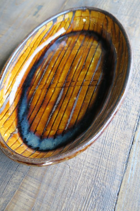 画像1: 小代焼ふもと窯 スリップウェアオーバル大 1