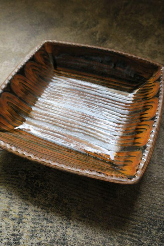 画像1: つくも窯・十場天伸 耐熱スリップウエア正方形鉢(大)
