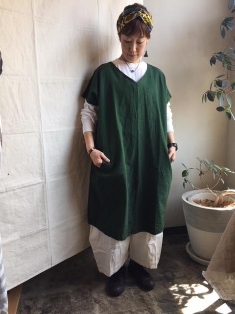 画像1: ヤンマ産業 会津木綿Vネックワンピース/グリーン・long