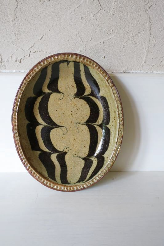 画像1: 掛谷康樹 練上手楕円皿(5寸)