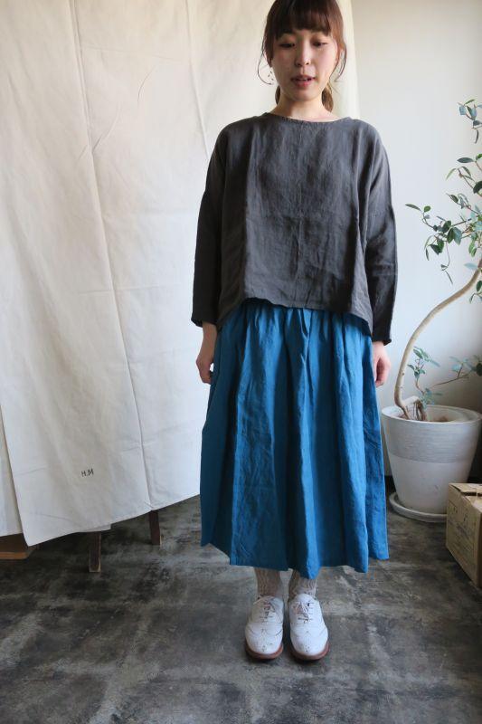 画像1: ヤンマ産業 リネンギャザースカート(プラス10cm丈・ターコイズ)