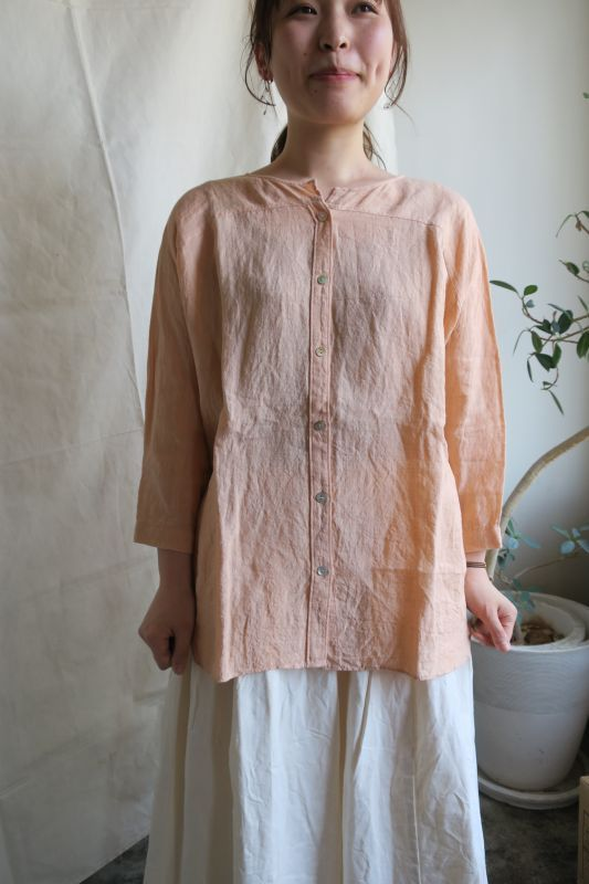 画像1: ヤンマ産業 リネンビッグシャツ (YDスラブ・サーモンピンク)