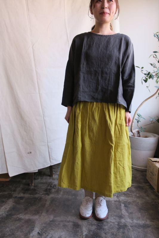 画像1: ヤンマ産業 リネンギャザースカート(プラス10cm丈・なし色)