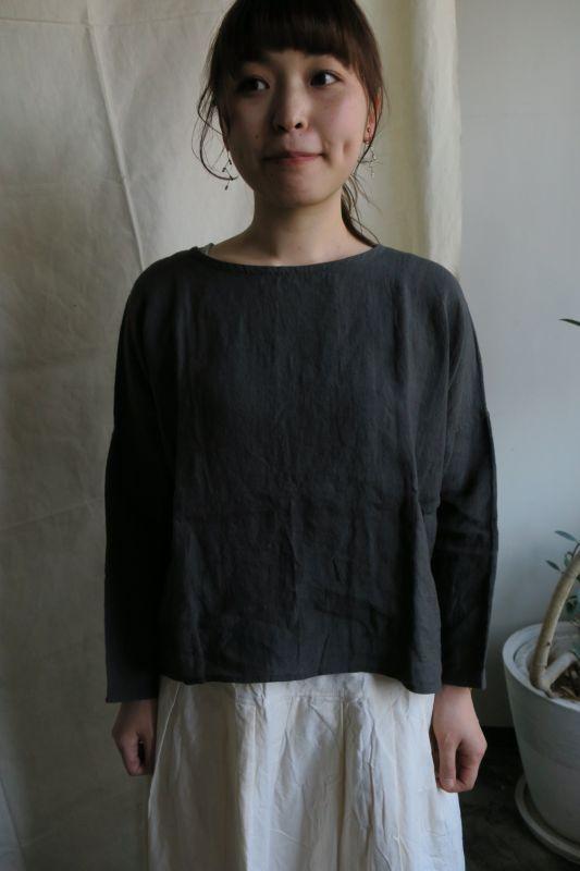 画像1: ヤンマ産業 リネンバッグギャザートップス(長袖・スミクロ)