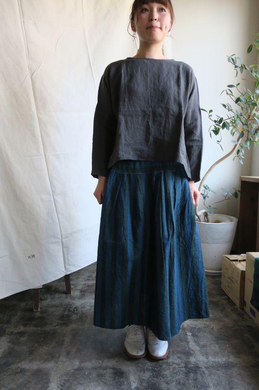 画像1: ヤンマ産業 会津木綿タックスカート(ロング・まりも縞)
