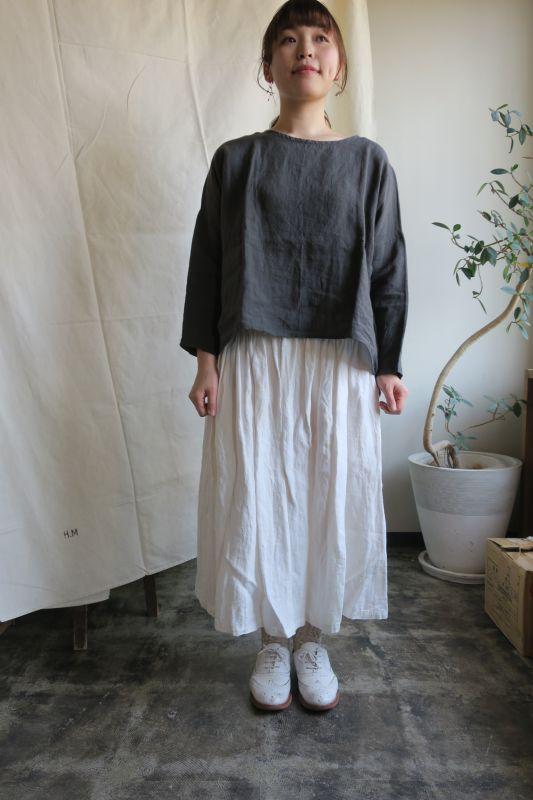画像1: ヤンマ産業 リネンギャザースカート(プラス10cm丈・キナリ)