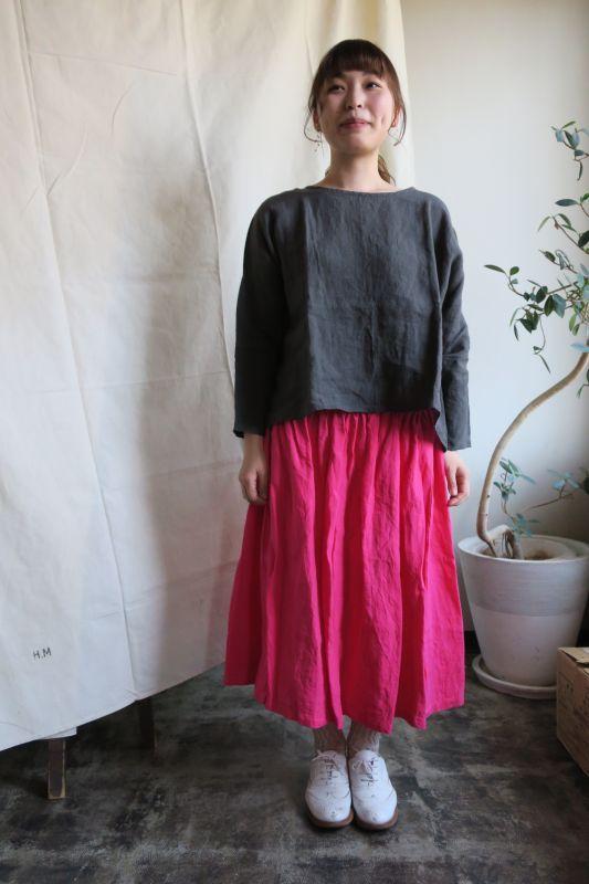 画像1: ヤンマ産業 リネンギャザースカート(プラス10cm丈・ピンク)