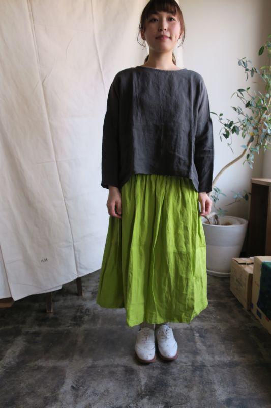画像1: ヤンマ産業 リネンギャザースカート(プラス10cm丈・ライム)