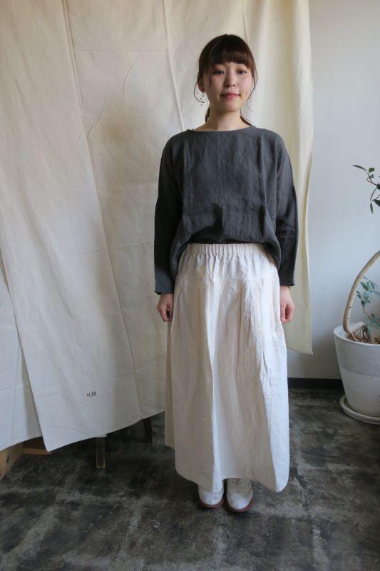 画像1: ヤンマ産業 会津木綿タックスカート(ロング・キナリ)