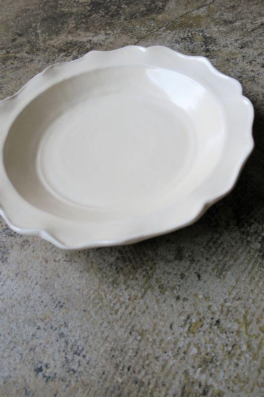 画像1: 安部太一 白釉ドレープ深皿