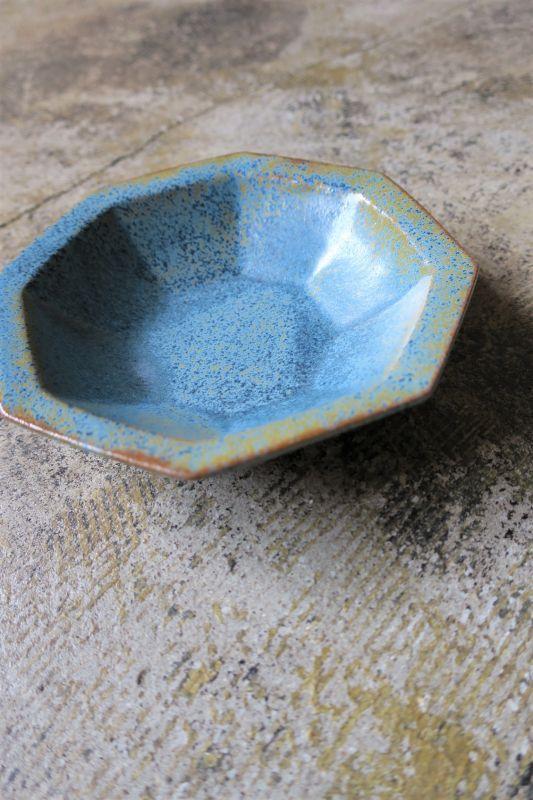 画像1: 安部太一 青釉八角皿