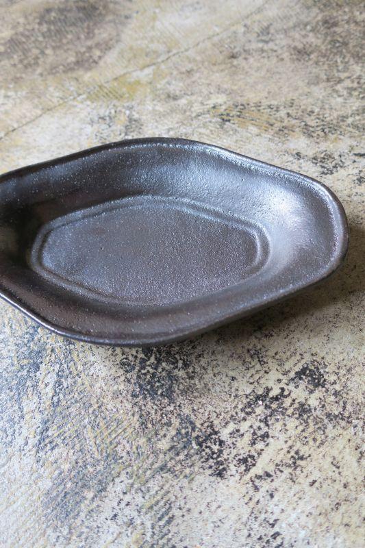 画像1: 安部太一 黒釉木舟皿