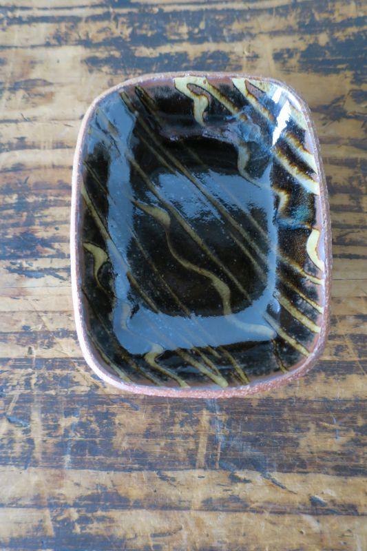 画像1: 前野直史 スリップウェア 角鉢 1