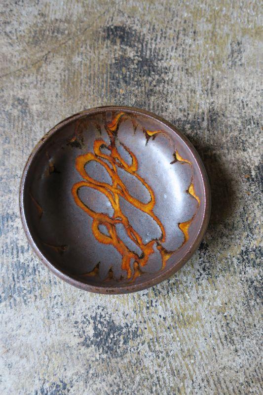 画像1: 小代焼ふもと窯 スリップ五寸鉢(12)