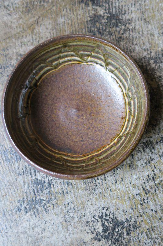 画像1: 小代焼ふもと窯 スリップ五寸鉢(11)