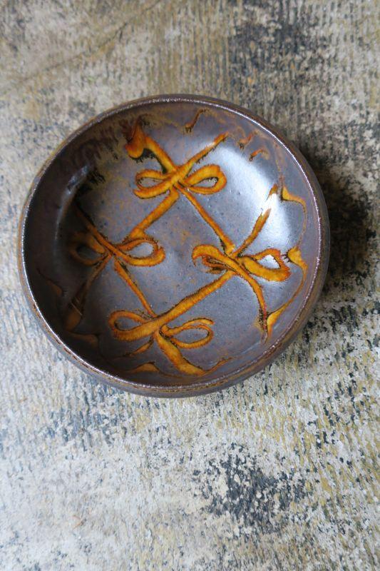 画像1: 小代焼ふもと窯 スリップ五寸鉢(14)