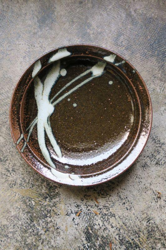 画像1: 小代焼ふもと窯 八寸リム皿(2)