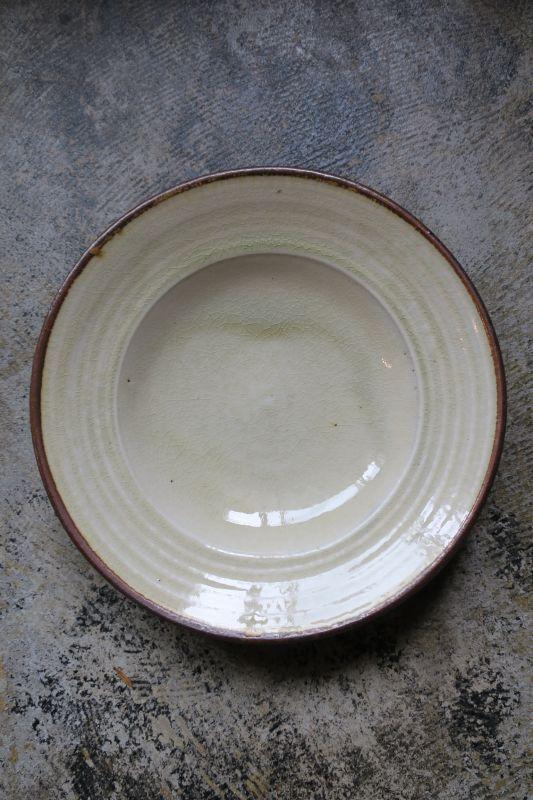画像1: 小代焼ふもと窯 八寸リム皿
