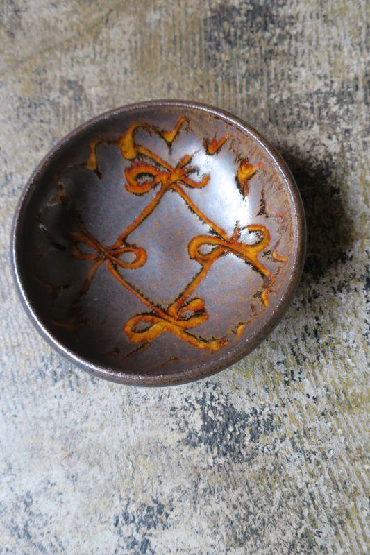 画像1: 小代焼ふもと窯 スリップ五寸鉢(13)